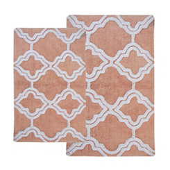 Salmon Quatrefoil Bath Mats, Set of 2