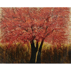 Amber Glow Hand Painted Textured Canvas Art Print