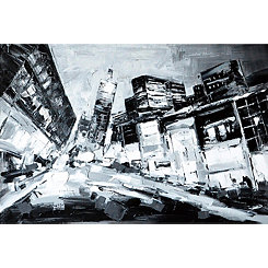 Deep City Hand Painted Canvas Art Print