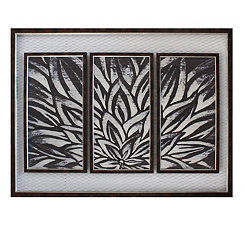 Triptych Plaques on Chicken Wire Framed Art Print
