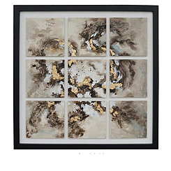 Abstract Wood Patch Tiles Framed Art Print