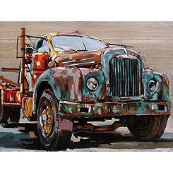 3D Metal Truck on Wood Art Print