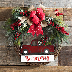 red christmas truck pine wreath - Red Christmas Wreath