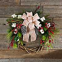 Cotton and Berry Striped Bow Wreath