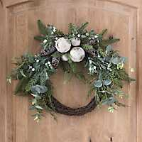 Birch and Pine Cone Christmas Wreath