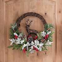 Bronze Deer, Pine, and Berry Wreath