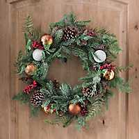 Pine and Bronze Ball Ornament Wreath