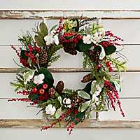 Cotton and Red Berry Wreath
