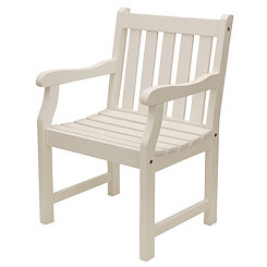 Hudson Slatted White Outdoor Chair