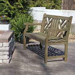 Gatsby Geometric Gray Outdoor Bench
