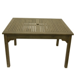 Brushed Gray Wood Square Outdoor Table