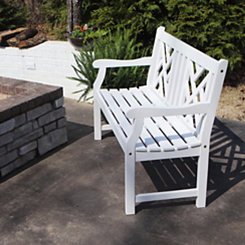 Gatsby Geometric White Outdoor Bench