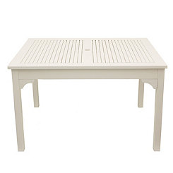 White Wooden Square Outdoor Table