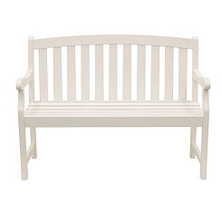 Myles White Rounded Back Outdoor Bench