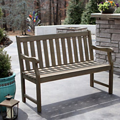 Hudson Gray Slatted Outdoor Bench