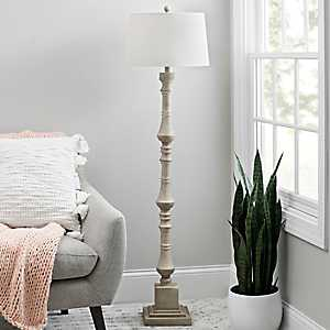 Chalky White Layered Spindle Floor Lamp