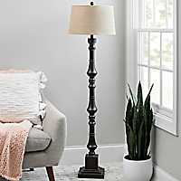 Charcoal Tin Layered Spindle Floor Lamp