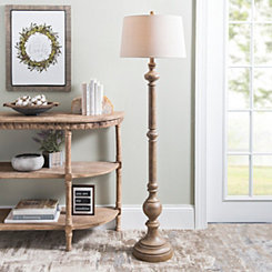 Natural Wood Baluster Floor Lamp