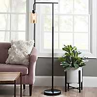 Restoration Bronze Seeded Glass Floor Lamp