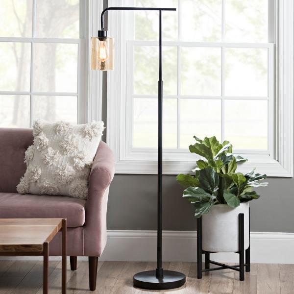 Good Restoration Bronze Seeded Glass Floor Lamp