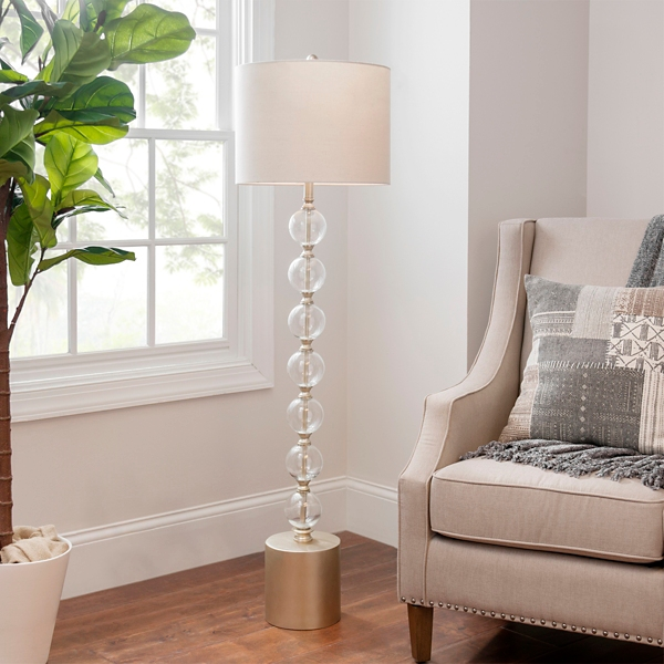 Champagne Stacked Glass Orb Floor Lamp