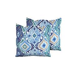 Cobalt Medallion Outdoor Pillows, Set of 2