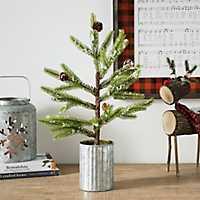 Mini Pine Tree in Galvanized Pot, 20 in.
