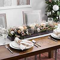Metallic Berry and Ornament Candle Centerpiece