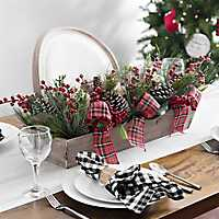Pine and Plaid Bow Crate Centerpiece