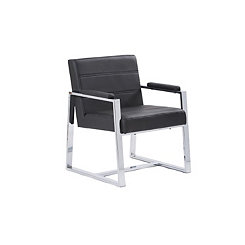 Black Faux Leather with Chrome Frame Accent Chair