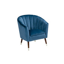 Channel Back Blue Velvet Accent Chair