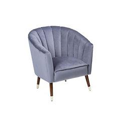 Channel Back Gray Velvet Accent Chair