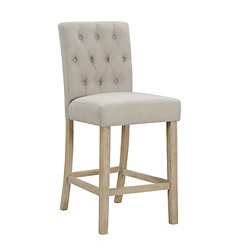Tufted Linen Sand Counter Bar Stool