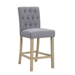 Tufted Linen Smoke Gray Counter Bar Stool