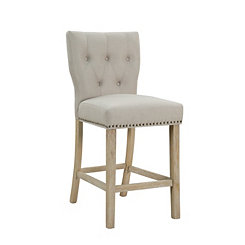 Tufted Linen Sand Bar Stool with Curved Back