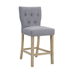Tufted Linen Smoke Gray Bar Stool with Curved Back