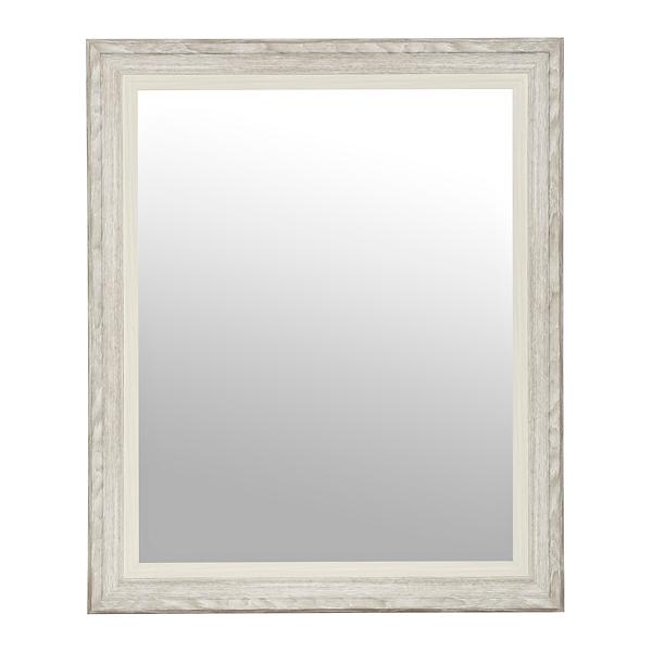 Gray White Woodgrain Wall Mirror, 27.5x33.5 In.