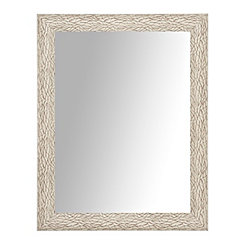 White Weathered Bark Wall Mirror, 27.5x33.5 in.