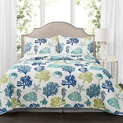 Navy Coral Reef 3-pc. Full/Queen Quilt Set