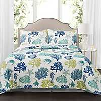 Navy Coral Reef 3-pc. King Quilt Set