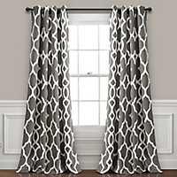 Gray Conan Geometric Curtain Panel Set, 84 in.