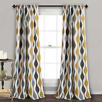 Gray Mid-Century Curtain Panel Set, 84 in.