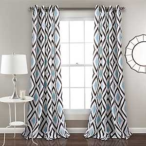 Blue Kaitlyn Diamond Curtain Panel Set, 84 in.