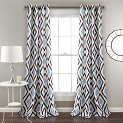 Blue Kaitlyn Diamond Curtain Panel Set, 84 in.