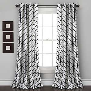 White and Black Diamond Curtain Panel Set, 84 in.