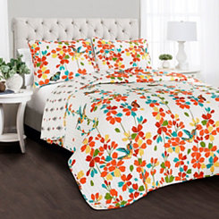 Tangerine Flower 3-pc. Full/Queen Quilt Set