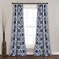 Navy Mara Curtain Panel Set, 84 in.
