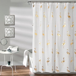 Gold Flamingo Shower Curtain