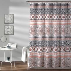 Navy Nesco Stripe Shower Curtain
