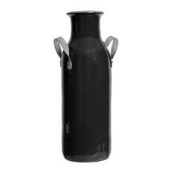 Gray Clay Vase with Metal Handles